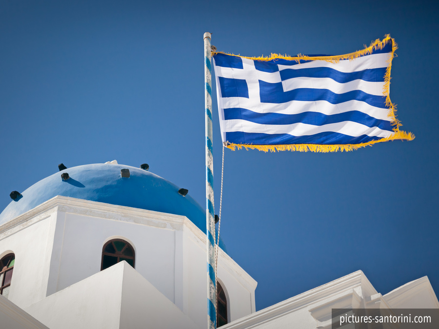 Flag of Greece next to Ai-Stratis